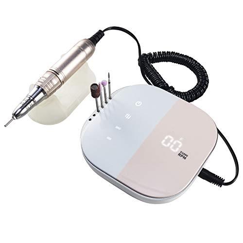 Opibtu - Juego de brocas para uñas eléctricas profesionales, 35.000 rpm, Smart LCD, juego de brocas para uñas acrílicas de gel, para esmalte, uñas de gel, manicura