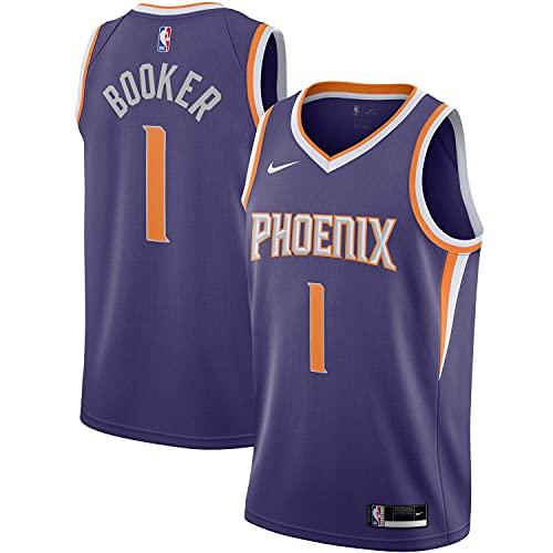 Nike Devin Booker Phoenix Suns NFL Boys Youth 8-20 Purple Icon Edition Swingman Jersey (Youth Small 8)