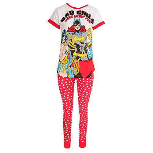 DC Comics Justice League Damen Pyjama Bad Girls (42/44 DE) (Weiß)