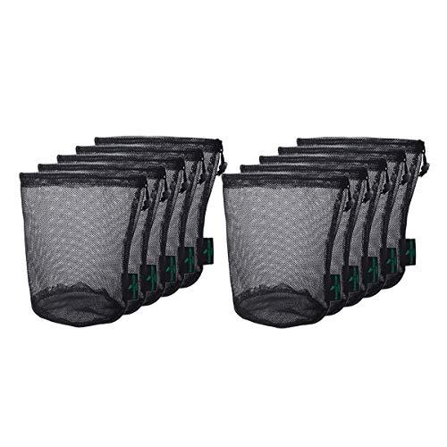 iBasingo 5/10 Stück strapazierfähiges Nylon-Netz-Beutel mit Kordelzug für Golfball, Flasche, Topf, Outdoor-Werkzeug, Tennis, Netz-Aufbewahrung, Ditty Bag BVP01, schwarz01-10 Stück, (D) 12*(H) 20 cm
