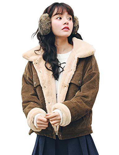 CHARTOU Women Winter Thicked Sherpa Lined Relaxed Fit Corduroy Trucker Jacket Coat (Small, Coffee)