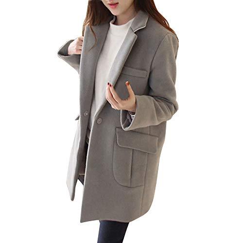 VEMOW VEMOW Herbst Winter Elegante Damen Cashmere-Like Dicker Jacke Outwear Parka Cardigan Casual Täglichen Business Schlank Mantel(X1-Grau, 40 DE/L CN)