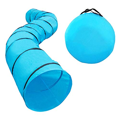 """Houseables Dog Tunnel, Agility Equipment, 18 Ft Long, 24"""" Open, Polyester, Play Tunnels for Training Small & Medium Dogs, Park Playground Toy, Large Obstacle Course for Pets, with Carrying Case"""