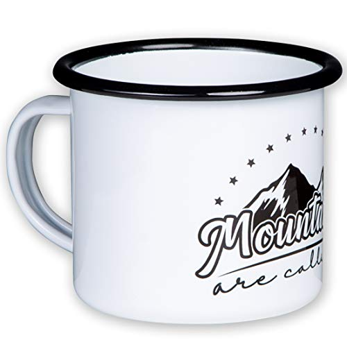 Mountains Are Calling Enamel Mug with Coloured Outdoor Design Light and Shatterproof for Camping and Trekking by MUGSY.de