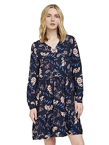 TOM TAILOR Damen 1025888 Volant Kleid, 24312-Navy Floral Design, 38