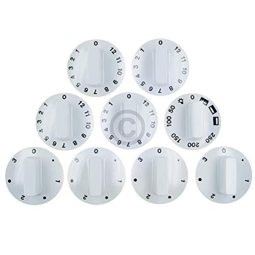 Knebelset Schalter Knopf Drehgriff 9-Teilig für Backöfen Ø 52 mm Weiß Universal Ersatzknebel für Backofen Ofen Herd