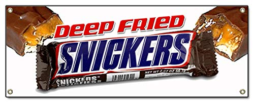 """72"""" DEEP Fried Snickers Banner Sign Warm Fresh Candy bar fryed Stick candybars"""