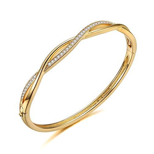 Italina Bangle voor Damesmode Armband Sieraden Klassieke Dun Kruis Armband Trouwring voor Dames Meiden Verjaardag Verjaardagscadeau