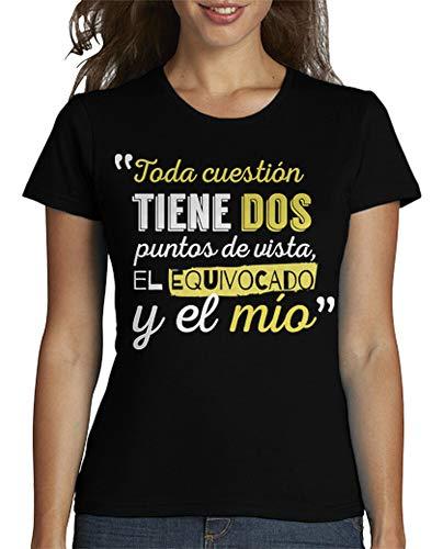 latostadora - Camiseta Puntos de Vista para Mujer Negro M