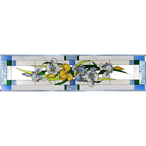Silver Creek Iris Painted Glass Panel R-195