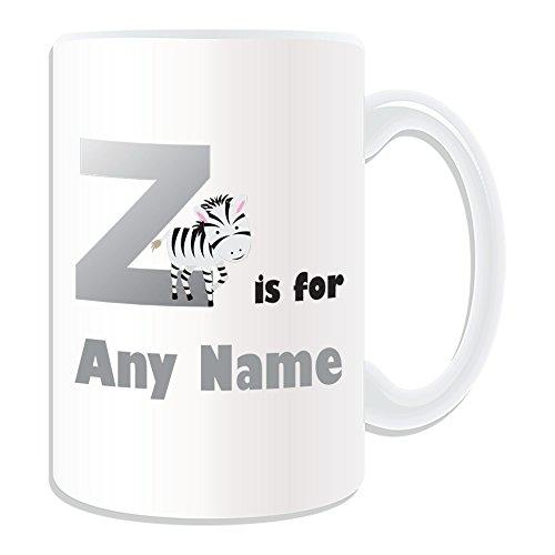 Personalizado regalo–gran letra Z para taza (diseño de alfabeto tema, blanco)–cualquier nombre/mensaje en su único–A B C D E F G H I J K L M N O P Q R S T U V W X Y Z inicial con símbolo fonético Zulu Zebra