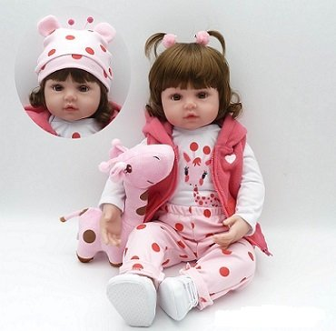 iCradle 18 inch Real Baby Size Reborn Toddler Girl Doll Soft Silicone Touch Baby Gift for Girls
