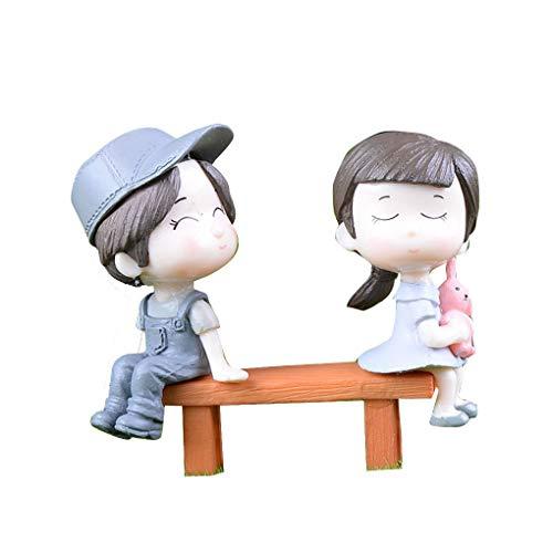 Mengonee Mini PVC Stool Couples Set Poupées Miniatures Jardin Décoration fées Dollhouse Bricolage Moss Figurine Ornement Bonsai