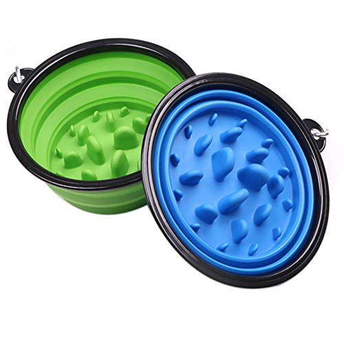 Bol de silicona plegable para mascotas, 2 unidades, con mosquetón, antigoteo para gatos, perros, paseos y acampadas, color azul y verde
