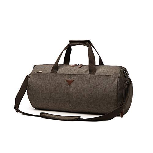 Bolsa Deporte Bolsa Gimnasio De Viaje Impermeable Compartimento para Zapatos, Bolsos Deportivos para Hombre Y Mujer Caqui L(54 * 28 * 27CM)