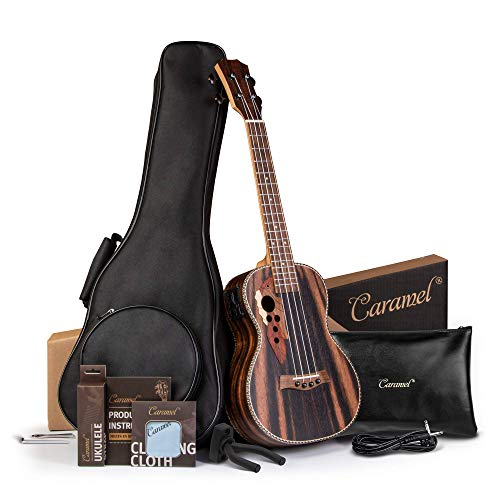 Caramel Ebony wood Baritone Ukulele 30 inch Professional Wooden LCD color display Electric ukelele Kit Hawaiian Beginner Guitar ukalalee Starter Pack Bundle Gig bag, Strap,Strings, Wall mount Set