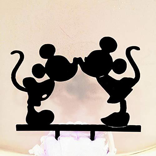 Il Villaggio degli sposi s.a.s. El Pueblo de los Novios s.a.s. Cake Topper Silueta de acrílico Minnie y Mickey Mouse – Decoración para Tarta
