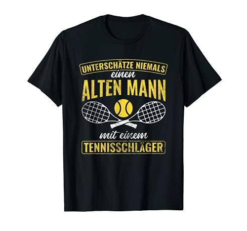 Hombre Antiguo hombre con raqueta de tenis, jubilado Camiseta