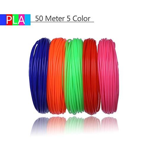 FAN-MING-N-3D, filamento per Stampante 3D, 10 Colori, 100 Metri, Materiale plastico PLA, 1,75 mm, per Disegno e Stampa 3D, Giocattoli per Bambini 50 Meter 5 Color