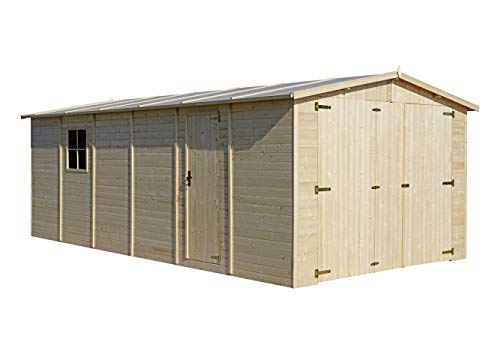 TIMBELA Holzgarage - Abstellraum mit Fenstern- H222x616x324 cm /18 m2 - Plattenkonstruktion aus Naturholz - Gartenwerkstatt - Auto- und Geräteschuppen M102