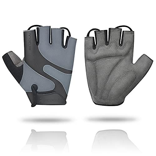 mylovetime Fahrradhandschuhe Herren, Halbfinger Handschuhe Atmungsaktiv rutschfeste Laufhandschuhe Stoßdämpfende Sporthandschuhe für Wandern L