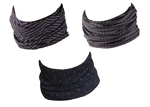Hilltop 3 x Motocicleta tela multifuncional, pañuelo, bufanda, Bandana 3 piezas en diseños modernos, black grey selection