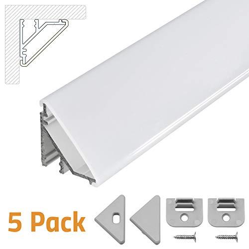 LED Eckprofil V24, Set 5x100cm, LED Alu Profile 45 Grad Ecke Aluminium für LEDs Strip als Streifen Lichtleiste