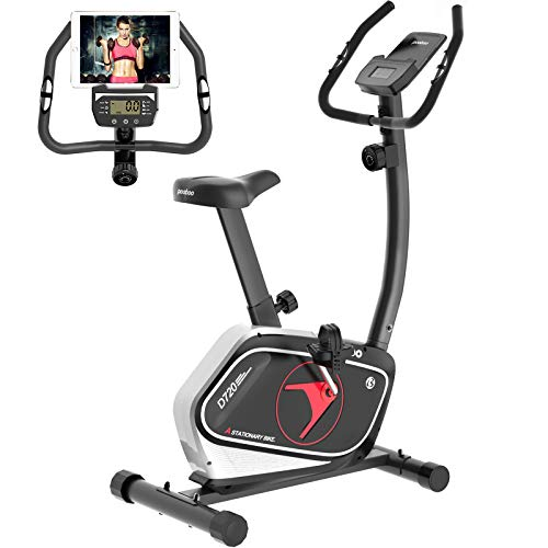 pooboo Magnetic Exercise Bike Upright Exercise Bikes Stationary Bike with Adjustable Seat for Home Office Workout with LCD Display & Ipad Mount