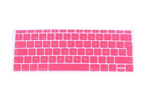 Español - Funda para teclado para MacBook 12 pro13 sin barra táctil EU-Enter A1708 A1534 A1931 cubierta para teclado de ordenador portátil Película protectora-Rosa