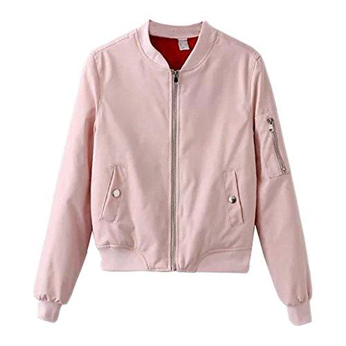 Bestfort Damen Bikerjacke Herbst Frühling Dünne Jahrgang Fliegerjacke Zip Bomberjacke mit Reißverschlüssen Kurz Jacke Baseball Uniform