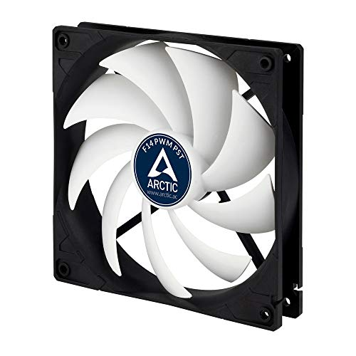 ARCTIC F14 PWM PST - 140 mm PWM PST Case Fan with PWM Sharing Technology (PST), Very Quiet Motor, Computer, Fan Speed: 200-1350 RPM - Black/White