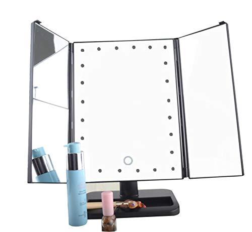WOCTP Großer Schminkspiegel Tragbarer Touchscreen Dimmen Beleuchtete Kosmetikspiegelvergrößerungen Dimmbar Mit Natürlichen LED-Lichtern,Black