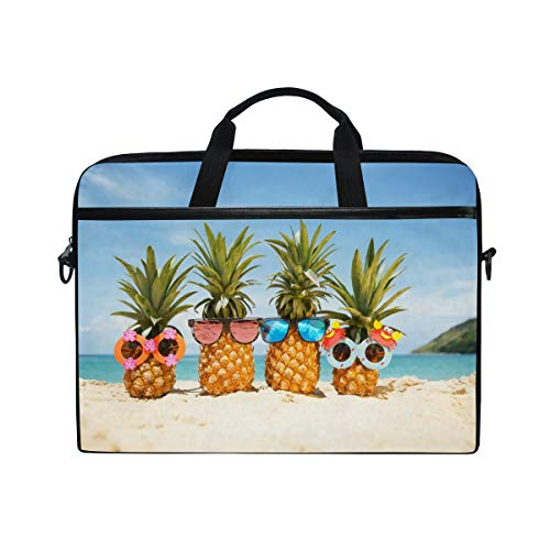 JOYPRINT Laptop Sleeve Case, Sea Beach Pineapple Family Summer 14-14.5 inch Briefcase Messenger Notebook Computer Bag with Shoulder Strap Handle for Men Women Boy Girls
