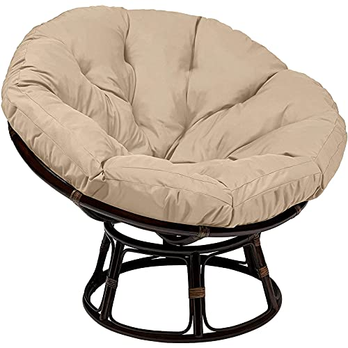 Papasan - Cojín redondo para silla de exterior (impermeable, para exteriores, con lazos gruesos, para sofá, decoración del hogar, beige, 60 x 60 cm)