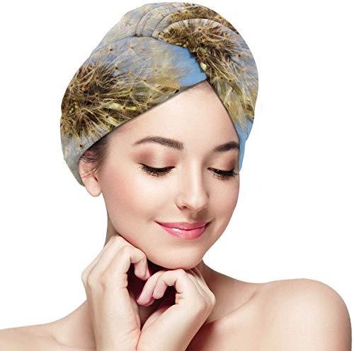 Toalla de Pelo de Microfibra súper Absorbente de Flor Blanca con diseño de botón,Turbante de Pelo para secar el Cabello Mojado para Mujeres y niñas