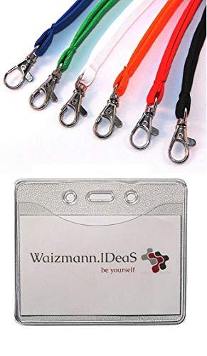 Waizmann.IDeaS® 1 x ID-kaartset, omhangband, sleutelkoord + hoes voor identiteitskaart, beschermhoes, vinyl, zacht plastic, horizontaal Lanyard Weiss