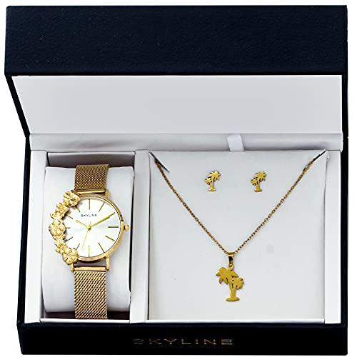 SKYLINE, Conjunto de Accesorios para Mujer, Reloj de Pulsera, Collar y Pendientes con Diseño de Palmera, Acero Inoxidable, Cumpleaños, Aniversario, etc, Dorado