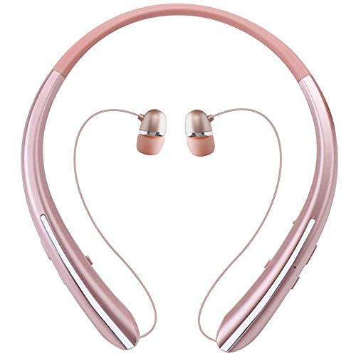 Bluetooth Retractable Headphones, Wireless Earbuds Neckband Headset Sports Noise Cancelling Stereo Earphones with Mic (12 Hrs Playtime, Call Vibrate Alert, Rose)