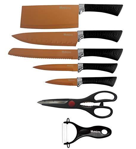 MAXELLPOWER Set DE 5 Cuchillos Tijeras PELADOR Copper Stone Juego ESMALTADOS Acero Garantia (Copper Knifes)
