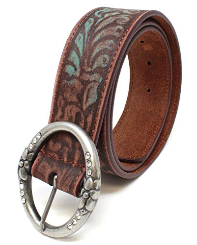 Distressed and Embossed Brown Teal Leather Belt 4