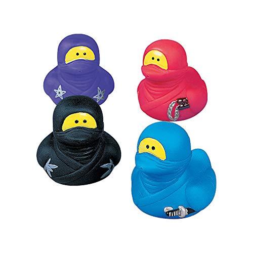 Fun Express Ninja Rubber Ducks - 12 Pieces - Karate Marital Arts Party Favors