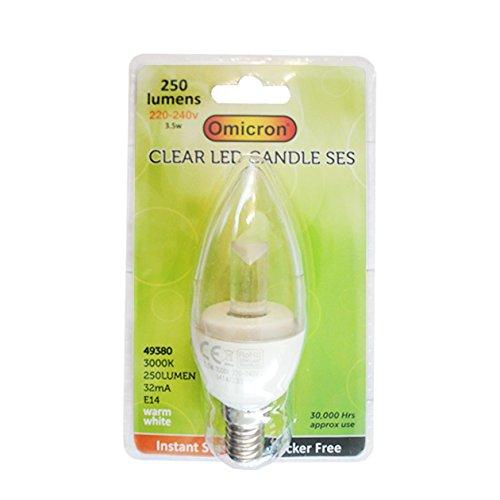 Omicron 48480 Ampoule LED style bougie Culot à baïonnette B22 Basse consommation Transparent 3,5 W
