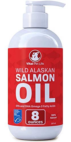 Salmon Oil for Dogs & Cats, Fish Oil Omega 3 EPA DHA Liquid Food Supplement for Pets, Wild Alaskan 100% All Natural, Supports Healthy Skin Coat & Joints, Natural Allergy & Inflammation Defense, 8 oz