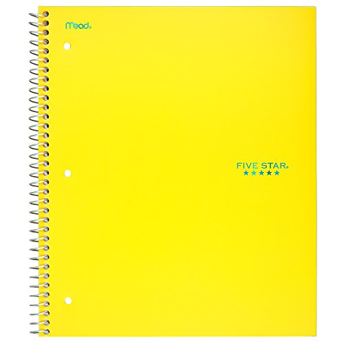 """Five Star Spiral Notebook, 1 Subject, Graph Ruled Paper, 100 Sheets, 11"""" x 8-1/2"""", Yellow (06190AC6)"""
