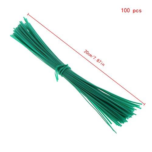 JAGETRADE Lot de 100 câbles torsadés avec revêtement de Jardin en Plastique