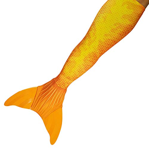 Sun Tails Premium Orange Mermaid Fin Sunset Style for Swimming Tail Fin Swimwear Kids Monofin Mermaid M with Monofin Orange and Costume