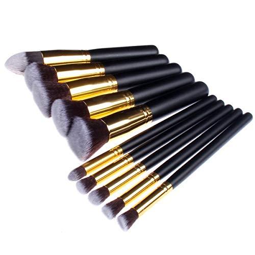 WFBD-CN Pinceau de Maquillage Pinceau de Maquillage Spot Or et d'argent Tube 10 Pinceau de Maquillage Jeu de Pinceau de Maquillage (Handle Color : Gold)