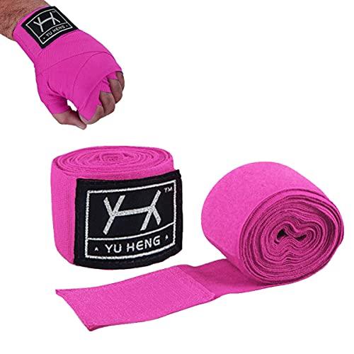Cinta Boxeo Vendas,Vendas Boxeo Hombres Mujeres,Vendaje de Boxeo Cinta de Boxeo para Deportes de Combate,Artes Marciales, MMA Muay Thai Taekwondo Kick Boxing Artes Marciales 5 Metros 1 Par (Rosa)