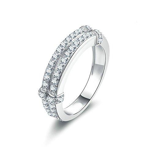 Adokiss Anello da donna in argento 925, anello di fidanzamento e matrimonio, 2 file rotondi, con zirconi brillanti e Argento, 57 (18.1), colore: argento, cod. 56PLQKISS7874