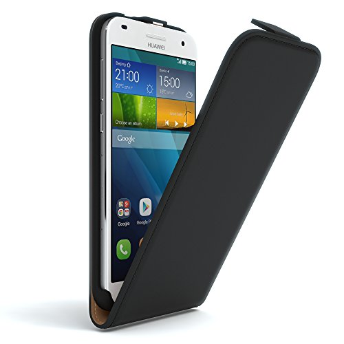 EAZY CASE Hülle kompatibel mit Huawei Ascend G620s Flip Cover zum Aufklappen, Handyhülle aufklappbar, Schutzhülle, Flipcover, Flipcase, Flipstyle Hülle vertikal klappbar, aus Kunstleder, Schwarz
